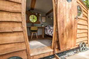 entrance to shepherds hut glamping pod