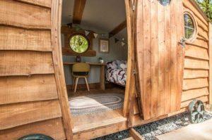 entrance to shepherds hut glamping pod
