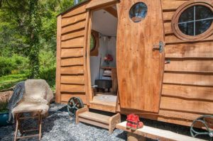 glamping shepherds hut entrance