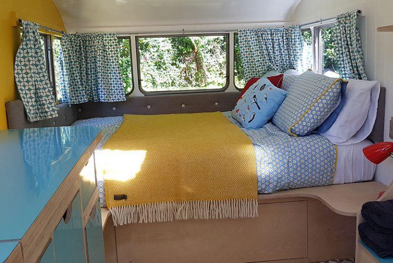 vintage caravan glamping double bed