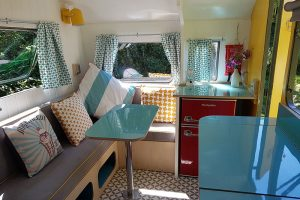 vintage glamping caravan seating