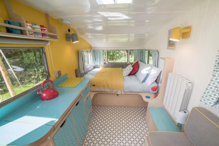 Inside Vintage Caravan Glamping